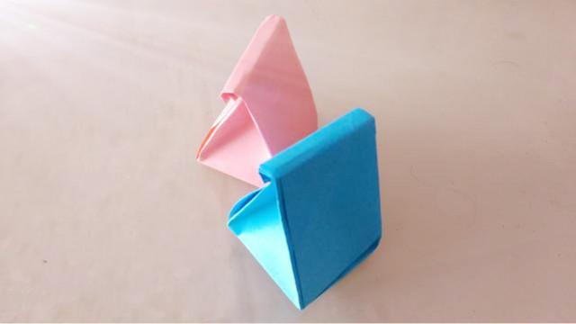 一张纸折出可爱的礼品袋,简单漂亮的手提袋,手工折纸视频教程