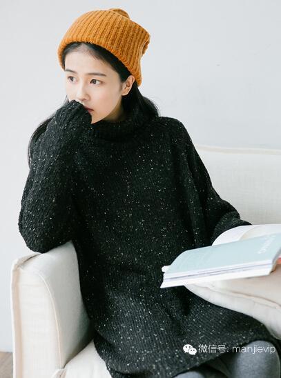 宽松显瘦打底针织衫女套头中长款加厚粗毛衣秋冬