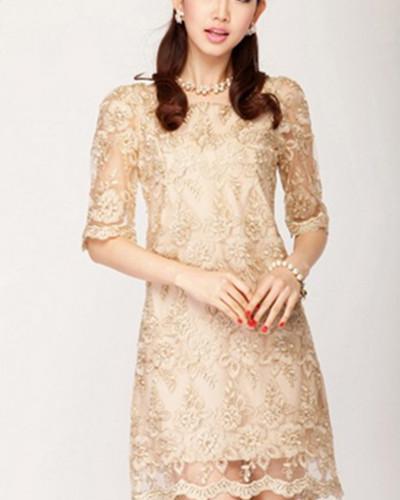 优雅气质蕾丝连衣裙,修身显瘦,女神范
