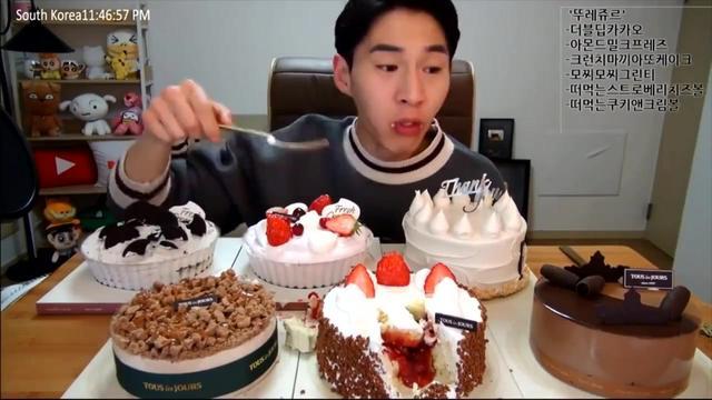 韩国大胃王:吃播奔驰小哥BANZZ吃6个美味的大蛋糕 快进版