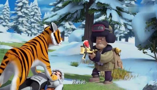 熊出没:赵琳遭受老虎袭击,熊大熊二出手相救