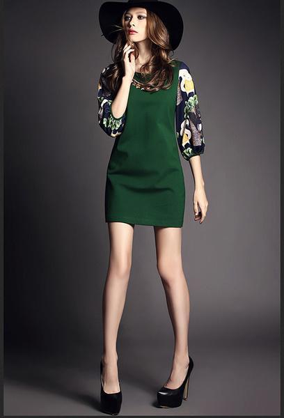 7分袖連衣裙