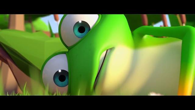 """一只青蛙因为跳得太高,被一根树枝粘住,悲催的""""飘""""在空中!"""