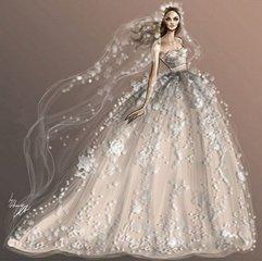 漂亮的婚纱素描