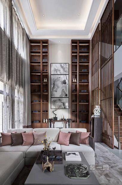 280平新中式风复式别墅装修案例 客厅挑高设计很大气