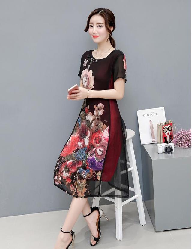 韓版大碼棉麻連衣裙