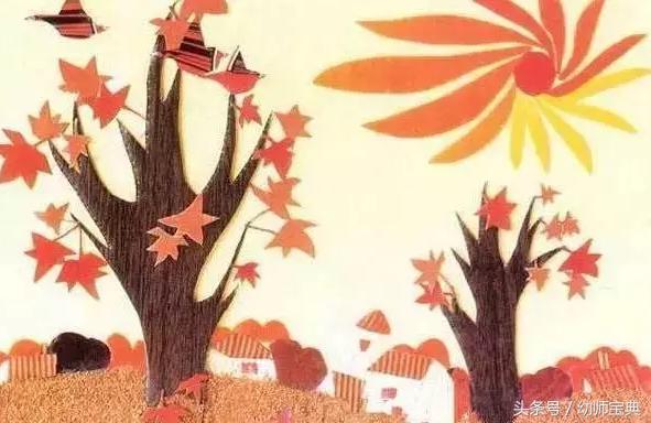 幼儿园树叶粘贴画图片