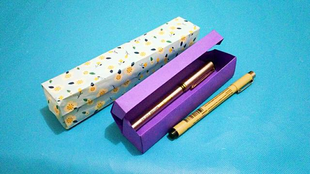 学会这个孩子铅笔盒就不用买了,马上就能折一个 折纸视频教程