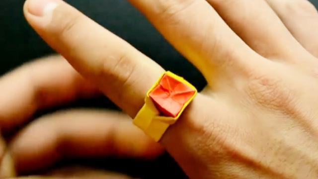 表白只需一张纸就可以,很简单的爱心戒指手工折纸,赶紧学起来