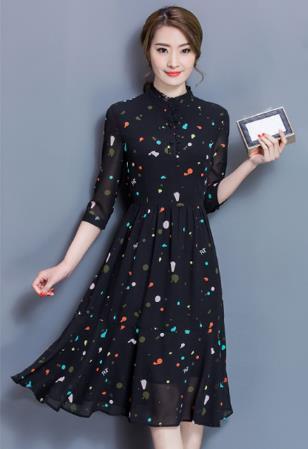 韓版雪紡短袖連衣裙
