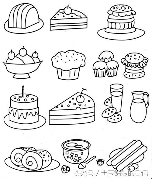 036蛋糕糖果美味诱人的甜品简笔画,把你爱吃的食物都画进手账