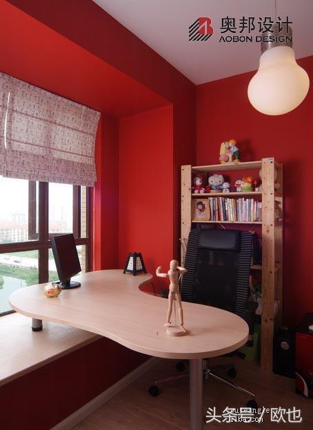 飘窗改书桌装修 欧式书房飘窗效果图