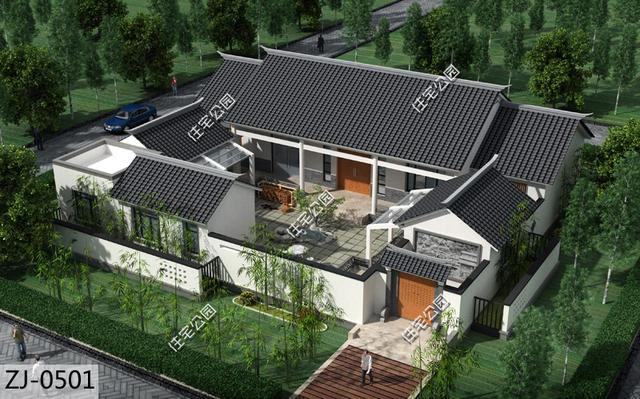 新中式合院20套,农村别墅就该这个样,3D动图展示