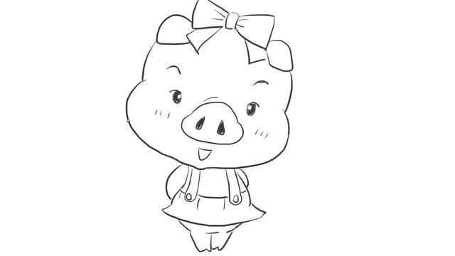 猪卡通图片简笔画