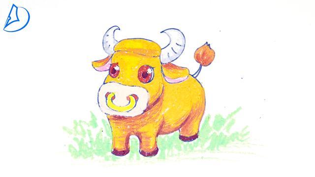 牛简笔画可爱小动物