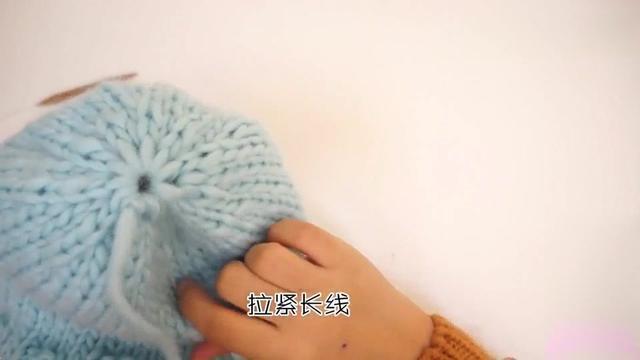 粗毛线编织毛线帽子,棒针编织毛线球帽子