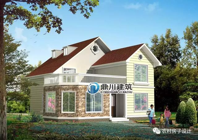 5款二层带超大露台农村别墅,既可以休闲又可晾晒,适合农村建