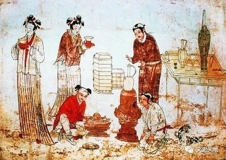 张家口宣化辽墓壁画《备茶图》