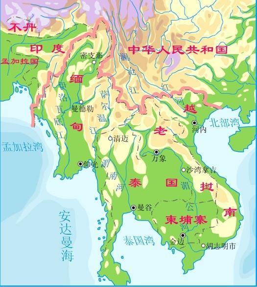中亚河流地形图