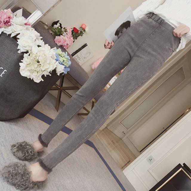 弹力高腰加绒牛仔裤女修身显瘦铅笔裤小脚长裤