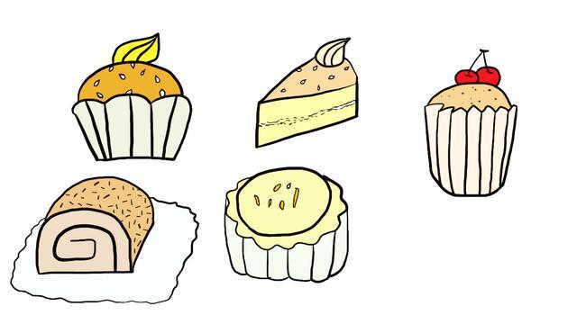 甜品的简笔画绘画图片欣赏_学习啦