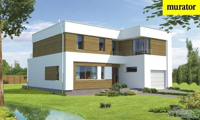 经典农村两层半平顶楼房、平屋面乡村住宅设计图_新农村别墅网