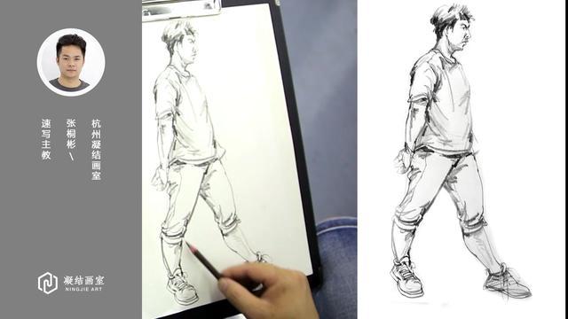 求速写站姿和看报纸坐姿男青年线性速写可临摹的图 - 手机美术宝