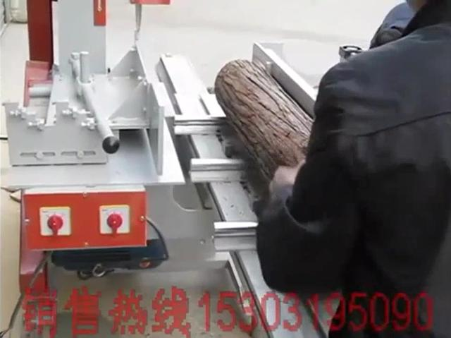 圆木推台锯工作视频