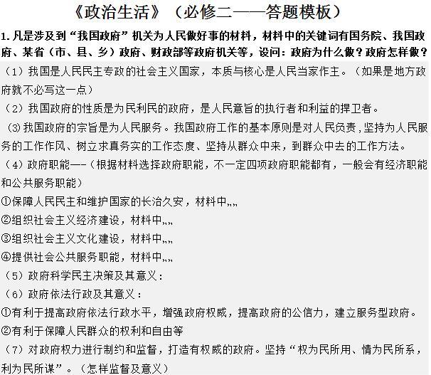 政治生活知识提纲与答题模板.doc -max上传文档投稿赚钱-文档...