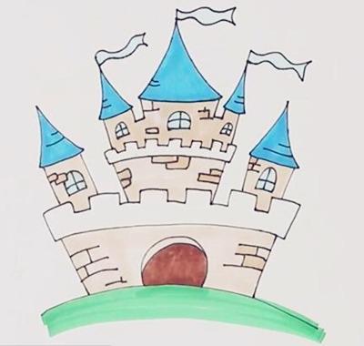 怎么画城堡的简笔画图片_城堡简笔画图片