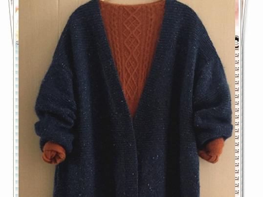 棒针编织段染中长款毛衣(附图解)