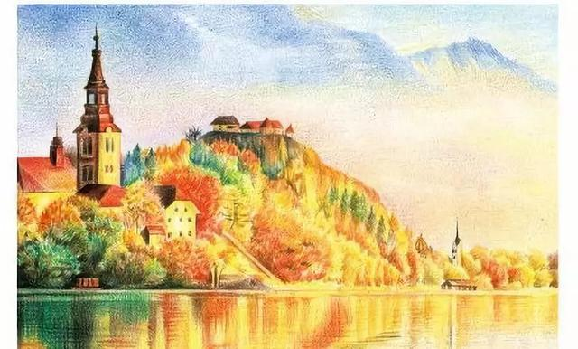 用彩铅画的简单风景画
