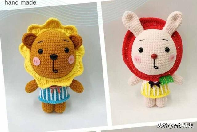 100款编织玩偶的款式图解教程,够你玩一年的了,收藏吧