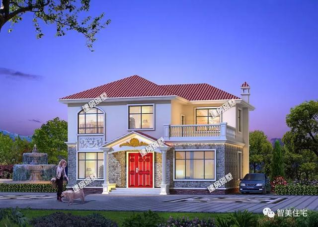 主体造价24万,带露台的两层小别墅,外观精致惹人喜爱