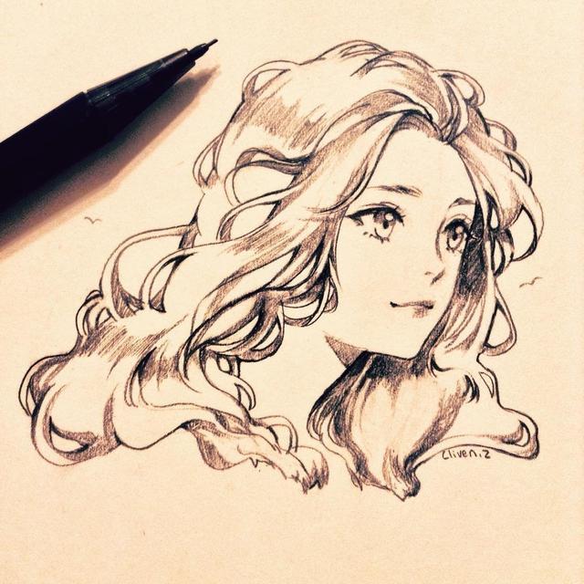 一组精致优雅的卡通美少女手绘线稿,第一次公开哦!