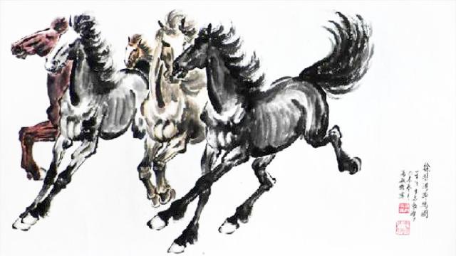 草原蒙古姑娘奔馬