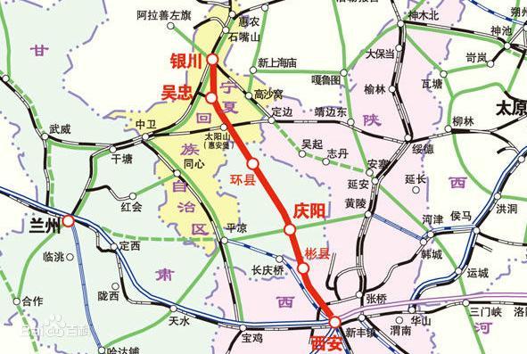 银川至西安高铁正在建设,正线长度618km,设计时速250公里