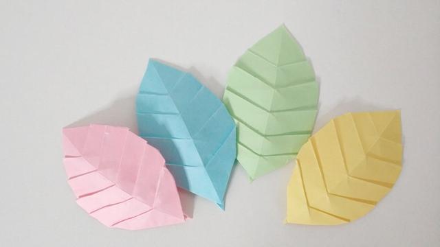 手把手教你折纸叶子,一张长方形纸条折出漂亮的叶子