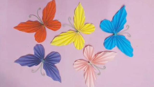 一张纸就能折出的漂亮蝴蝶,简单好看还是立体的,手工折纸视频