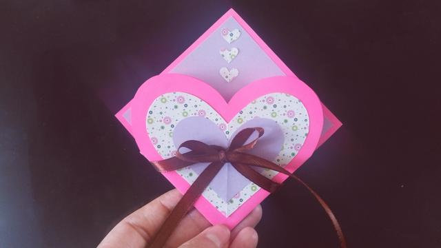 母亲节创意手工折纸,漂亮的爱心立体花朵贺卡,简单易学有心意