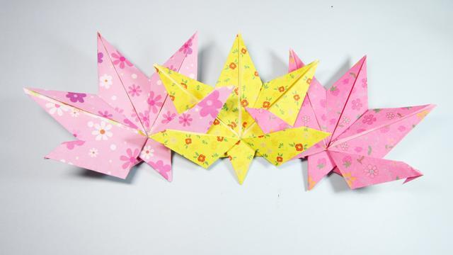 儿童手工折纸枫叶,4分钟仅用一张纸就能折出漂亮的枫树叶子