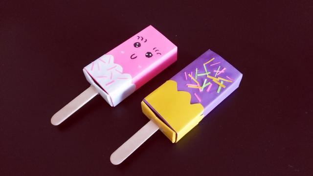 教你折纸冰淇淋文具盒,简单漂亮又实用,带去学校小朋友都喜欢