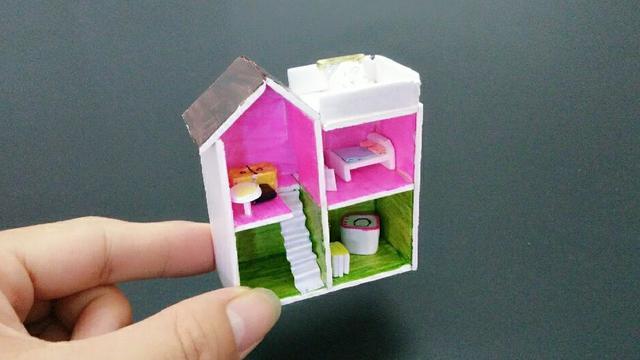 教你给芭比娃娃做粉色迷你房间,做法简单又漂亮,手工diy