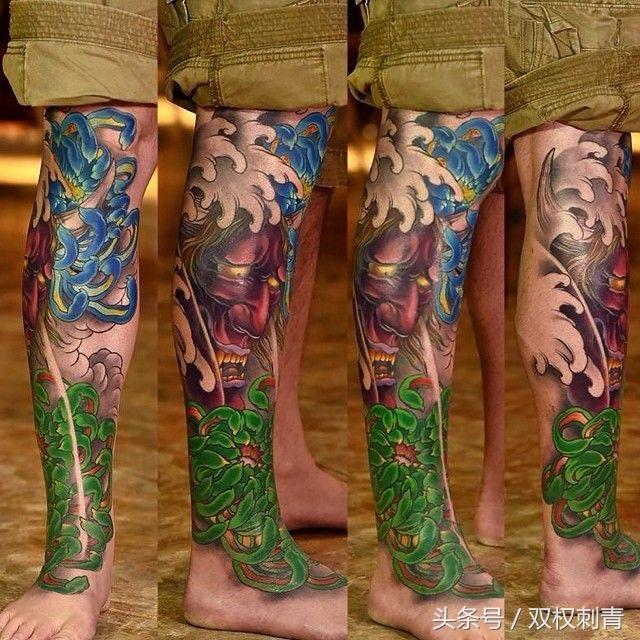 包小腿的一组传统纹身效果图欣赏 - 纹身秀