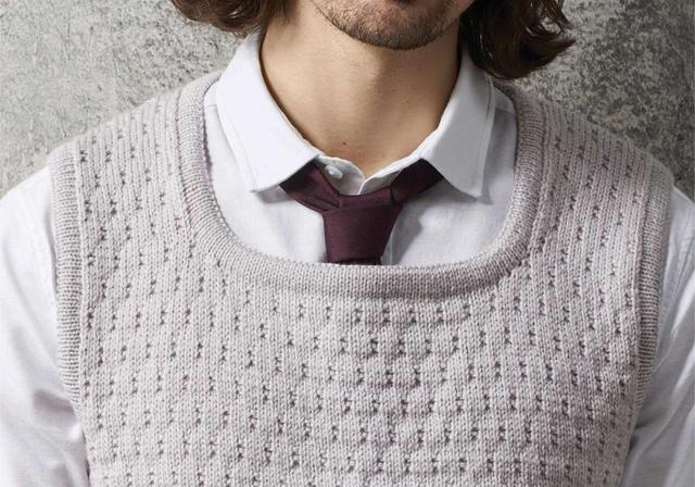既简单又好看的男士背心花形编织,适合新手