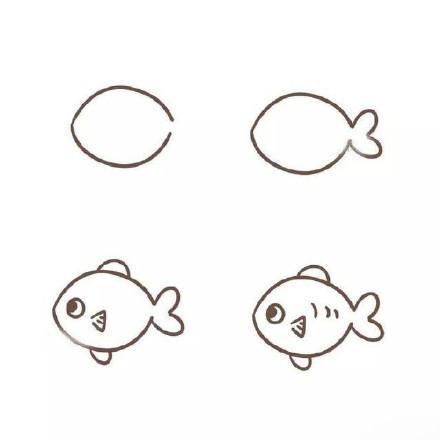 简单的鱼简笔画图片_海洋动物