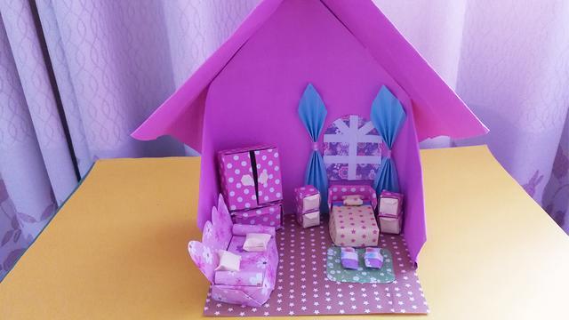 一涵育儿折纸,教你制作立体纸房子,步骤简单,适合教给孩子玩