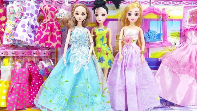 芭比娃娃玩具 三位公主装扮过家家玩具