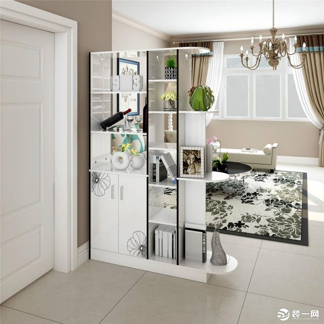 2018现代两室两厅鞋柜屏风隔断效果图_装修123效果图