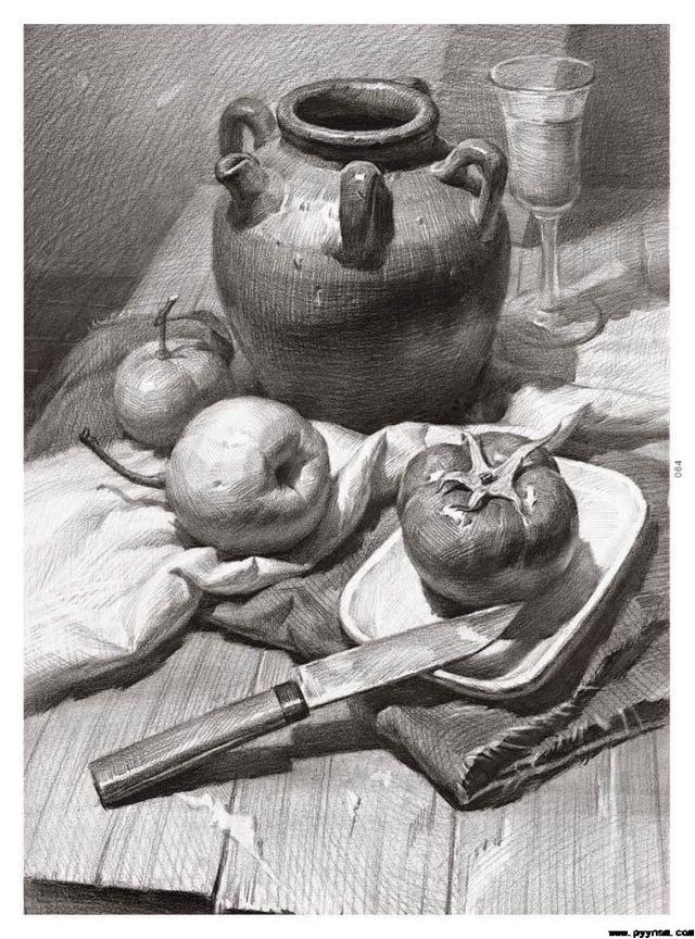 李汉清素描静物作品欣赏「高清图片」